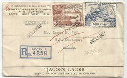 GOLD COAST UPU 2D+3D LETTRE COVER REC ACCRA 1949 TO ACCRA UNCLAIMED - Costa De Oro (...-1957)