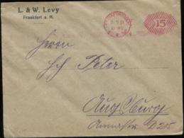 19802 DR Infla Brief Levy Freistempel 15 Pfg Frankfurt 1921 , Bedarfserhaltung. - Brieven En Documenten