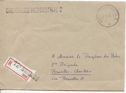 REF1808/ Lettre R.Franchise C.Ambulant BXL-Herbesthal 2+Griffe & Griffe 12° Brigade S/Etiq.de Recommandation > BXL  RARE - Postmark Collection