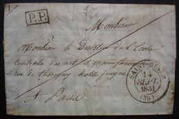 Saint Sever, Landes 1831 Lettre En Port Payé Du Professeur De Mathématiques Du Collège Pour Paris - Marcofilie (Brieven)