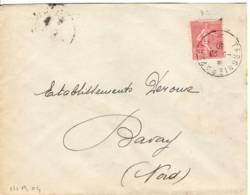 Ambulant TERGNIER A PARIS Type 3 1930 Semeuse Lignée 50c Rouge N°199 - Correo Ferroviario