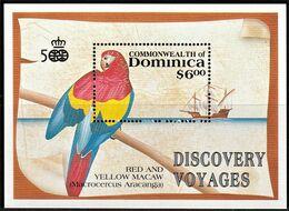 1991 Dominica Scarlet Macaw Souvenir Sheet (** / MNH / UMM) - Perroquets & Tropicaux