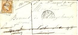 1856- Lettre De PARIS - Bureau K  Affr. 10 C N°13 Avec Réexpédition   TAXEE 1 D Manuscrit - 1849-1876: Classic Period