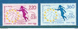 France - Timbre De Service - YT N° 100 Et 101 - Conseil De L'Europe - Neuf Sans Charnière - 1989 - Neufs
