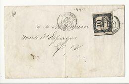 Taxe 10 Cts Typo (belles Marges) Sur Lettre De 1861 - Bordeaux, Tribunal De Commerce - 1859-1955 Covers & Documents