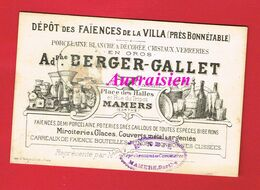 1 Carte De Visite ... MAMERS Sarthe BERGER GALLET Faïences De La VILLA Près BONNETABLE Porcelaine Verreries 188? - Cartes De Visite