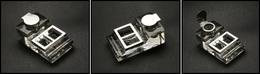 BOITES A TIMBRES. Encrier En Cristal Avec 2 Comp. Timbres En Façade, Couvercle Et Cerclage Argent, 63x105x40mm. - TB - Boites A Timbres