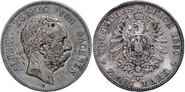 2 Mark, 1880, Albert, Kräftige Patina, S., Katalog: J. 121 S - [ 2] 1871-1918: Deutsches Kaiserreich