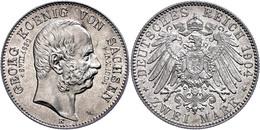 2 Mark, 1904, Georg, Auf Seinen Tod, Vz-st., Katalog: J. 132 Vz-st - [ 2] 1871-1918: Deutsches Kaiserreich