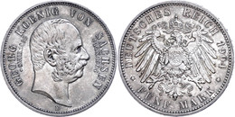 5 Mark, 1904, Georg, Auf Seinen Tod, Min. Rf., Dunkle Patina, Vz-st., Katalog: J. 133 Vz-st - [ 2] 1871-1918: Deutsches Kaiserreich
