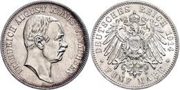 2 Mark, 1914, Friedrich August III., Kratzer Auf Dem Avers, Vz-st., Katalog: J. 134 Vz-st - [ 2] 1871-1918: Deutsches Kaiserreich