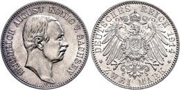 2 Mark, 1914, Friedrich August III., Wz. Kr., F. St., Katalog: J. 134 - [ 2] 1871-1918: Deutsches Kaiserreich