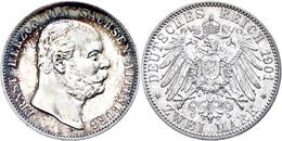 2 Mark, 1901, Ernst I., Ss+., Katalog: J. 142 - [ 2] 1871-1918: Deutsches Kaiserreich