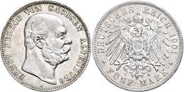 5 Mark, 1901, Ernst I., Randfehler, Kratzer, Ss., Katalog: J. 143 Ss - [ 2] 1871-1918: Deutsches Kaiserreich