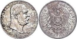 5 Mark, 1903, Ernst I., Zum 50jährigen Regierungsjubiläum, Wz. Kratzer, Ss-vz., Katalog: J. 144 Ss-vz - [ 2] 1871-1918: Deutsches Kaiserreich