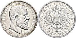 5 Mark, 1895, Alfred, Kl. Rf., Rand Stellenweise Berieben, Ss., Katalog: J. 146 Ss - [ 2] 1871-1918: Deutsches Kaiserreich