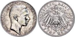 5 Mark, 1907, Carl Eduard, Rand Bearbeitet, Randfehler, Ss., Katalog: J. 148 Ss - [ 2] 1871-1918: Deutsches Kaiserreich