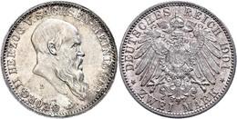2 Mark, 1901, Georg II., Zum 75. Geburtstag, Vz., Katalog: J. 149 Vz - [ 2] 1871-1918: Deutsches Kaiserreich