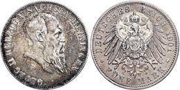 5 Mark, 1901, Georg II., Zum 75. Geburtstag, Teilw. Kräftige Patina, Randfehler, Ss., Katalog: J. 150 Ss - [ 2] 1871-1918: Deutsches Kaiserreich