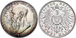 2 Mark, 1902, Georg II., Bart Berührt Perlkreis, J. 151a, Bunte Patina, Kl. Kratzer, Vz-st., Katalog: J. 151a Vz-st - [ 2] 1871-1918: Deutsches Kaiserreich