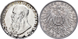 2 Mark, 1902, Georg II., Kl. Rf., Ss., Katalog: J. 151b Ss - [ 2] 1871-1918: Deutsches Kaiserreich