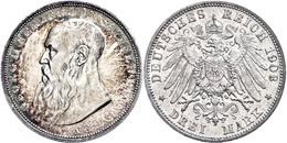 3 Mark, 1908, Georg II., Kl. Rf., Ss-vz., Katalog: J. 152 Ss-vz - [ 2] 1871-1918: Deutsches Kaiserreich