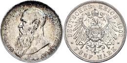 5 Mark, 1902, Georg II., Bart Berührt Perlkreis, Randfehler, Ss., Katalog: J. 153a Ss - [ 2] 1871-1918: Deutsches Kaiserreich