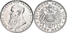 5 Mark, 1908, Georg II., Gereinigt, Kl. Rf., Ss., Katalog: J. 153b Ss - [ 2] 1871-1918: Deutsches Kaiserreich