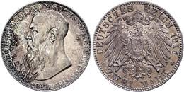 2 Mark, 1915, Georg II., Auf Seinen Tod, Kräftige Patina, Vz., Katalog: J. 154 Vz - [ 2] 1871-1918: Deutsches Kaiserreich