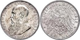 3 Mark, 1915, Georg II. Auf Seinen Tod, Kl. Rf., Ss-vz., Katalog: J. 155 Vz - [ 2] 1871-1918: Deutsches Kaiserreich