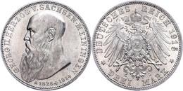 3 Mark, 1915, Georg II. Auf Seinen Tod, Kleine Randfehler, Ss-vz., Katalog: J. 155 Ss-vz - [ 2] 1871-1918: Deutsches Kaiserreich