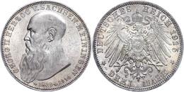 3 Mark, 1915, Georg II. Auf Seinen Tod, Vz., Katalog: J. 155 Vz - [ 2] 1871-1918: Deutsches Kaiserreich