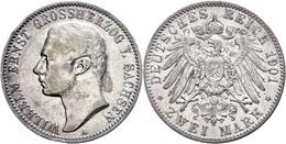 2 Mark, 1901, Wilhelm Ernst, Randfehler, S-ss., Katalog: J. 157 S-ss - [ 2] 1871-1918: Deutsches Kaiserreich