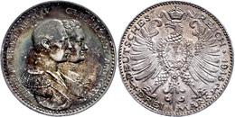3 Mark, 1915, Wilhelm Ernst, Hundertjahrfeier Des Großherzogtums, Kl. Rf., Bunte Patina, Vz+., Katalog: J. 163 - [ 2] 1871-1918: Deutsches Kaiserreich