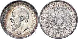 2 Mark, 1904, Georg, Avers Berieben, Bunte Patina, Randfehler, F. Vz., Katalog: J. 164 - [ 2] 1871-1918: Deutsches Kaiserreich