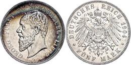 5 Mark, 1904, Georg, Kl. Rf. Und Kratzer, Bunte Patina, Ss., Katalog: J. 165 Ss - [ 2] 1871-1918: Deutsches Kaiserreich