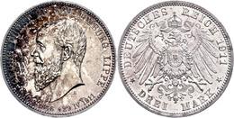 3 Mark, 1911, Georg, Auf Seinen Tod, Vz., Katalog: J. 166 Vz - [ 2] 1871-1918: Deutsches Kaiserreich