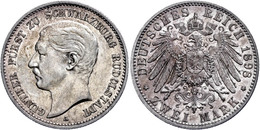 2 Mark, 1898, Günther Viktor, Kl. Rf., Ss., Katalog: J. 167 Ss - [ 2] 1871-1918: Deutsches Kaiserreich