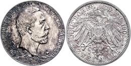 2 Mark, 1905, Karl Günther Zum 25jährigen Regierungsjubiläum, Schmaler Randstab, Vz-st., Katalog: J. 169a Vz-st - [ 2] 1871-1918: Deutsches Kaiserreich