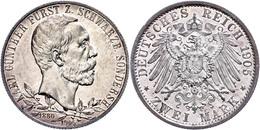 2 Mark, 1905, Karl Günther Zum 25jährigen Regierungsjubiläum, Breiter Randstab, Avers Vz, Revers F. St., Katalog: J. 169 - [ 2] 1871-1918: Deutsches Kaiserreich