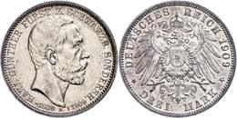 3 Mark, 1909, Karl Günther, Auf Seinen Tod, Kl. Rf., F. Vz., Katalog: J. 170 - [ 2] 1871-1918: Deutsches Kaiserreich