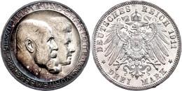 3 Mark, 1911, Wilhelm II., Variante Mit Hohem Querstrich, Randfehler, Wz. Kratzer, Bunte Patina, PP., Katalog: J. 177b P - [ 2] 1871-1918: Deutsches Kaiserreich