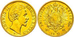 20 Mark, 1873, Ludwig II., Kl. Rf., Ss., Katalog: J. 194 Ss - [ 2] 1871-1918: Deutsches Kaiserreich