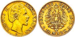10 Mark, 1875, Ludwig II., Kl. Rf., Etwas Berieben, Ss., Katalog: J. 196 Ss - [ 2] 1871-1918: Deutsches Kaiserreich