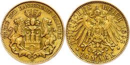 10 Mark, 1893, Stadtwappen, Kleine Randfehler, Ss-vz., Katalog: J. 211 Ss-vz - [ 2] 1871-1918: Deutsches Kaiserreich