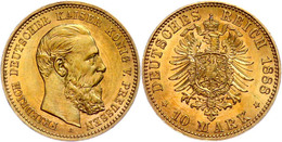 10 Mark, 1888, Friedrich III., Kleine Randfehler, Ss-vz., Katalog: J. 247 Ss-vz - [ 2] 1871-1918: Deutsches Kaiserreich