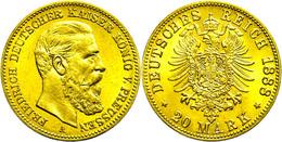 20 Mark, 1888, Friedrich III., Vz Aus PP., Katalog: J. 248 VzausPP - [ 2] 1871-1918: Deutsches Kaiserreich