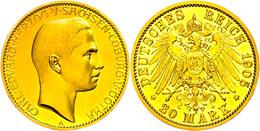 20 Mark, 1905, Carl Eduard, Kl. Kratzer, Vz Aus PP., Katalog: J. 274 VzausPP - [ 2] 1871-1918: Deutsches Kaiserreich