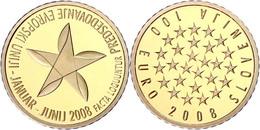 100 Euro, Gold, 2008, Slowenische Präsidentschaft Im Europäischen Rat, Fb. 23, 900er Gold, 6,3 G Fein, In Kapsel, Mit Ze - Slovenia
