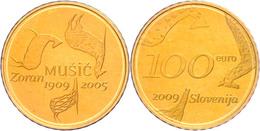 100 Euro, Gold, 2009, 100. Geburtstag Von Zoran Music, Fb. 26, 900er Gold, 7 G,  In Kapsel, Mit Zertifikat In Holzschatu - Slovenia